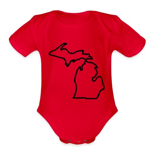Michigan Outline One size - Organic Short Sleeve Baby Bodysuit