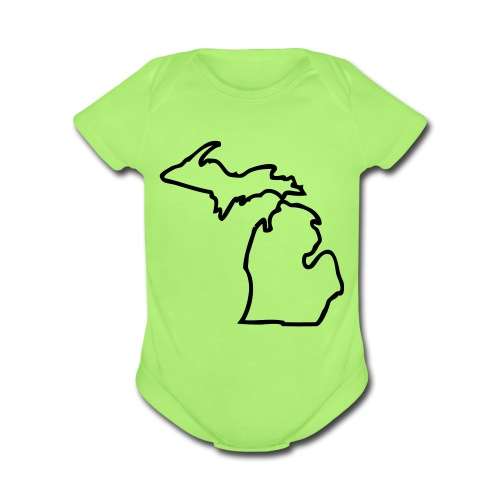 Michigan Outline One size - Organic Short Sleeve Baby Bodysuit