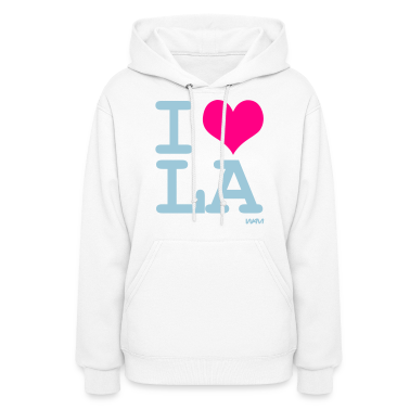 White i love LA by wam Hooded Sweatshirts