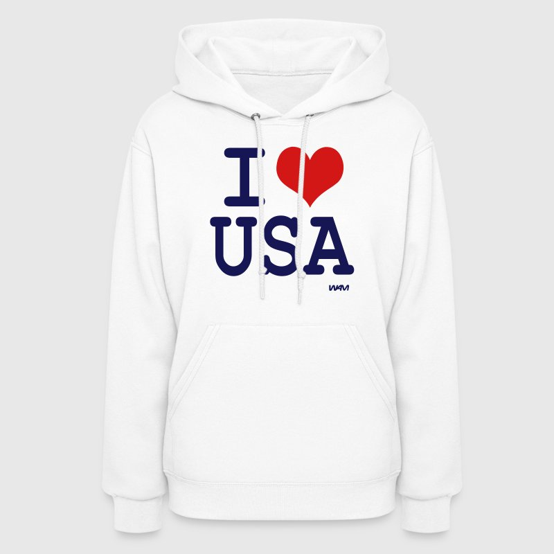 White i love usa by wam Hooded Sweatshirts - Women's Hoodie