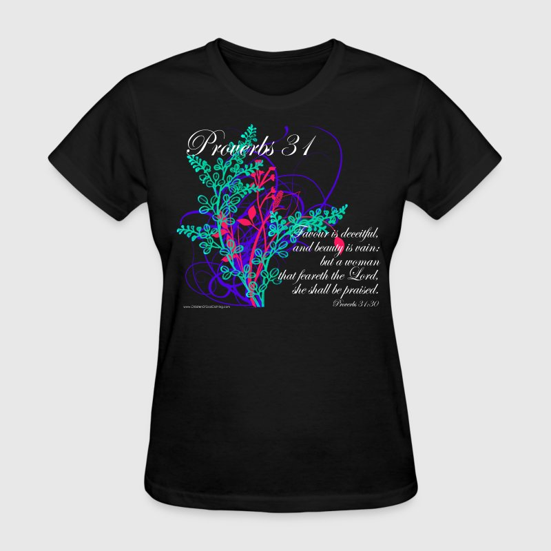 Black Proverbs 31 Virtuous Woman T-Shirt Design Women's T-shirts - Women's T-Shirt