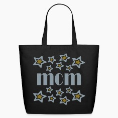 Black Mom With Double Stars And Cutouts Bags