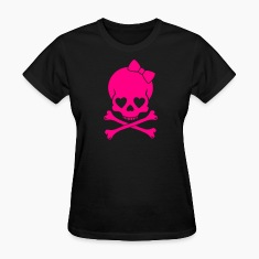 Black Girlie Skull Women's T-shirts