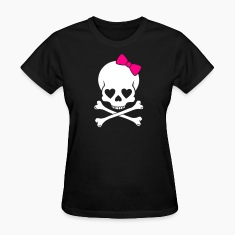 Black Girlie Skull 2 Color Women's T-shirts