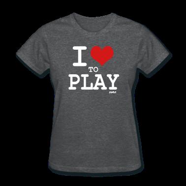 Deep heather i love to play by wam Women's T-shirts
