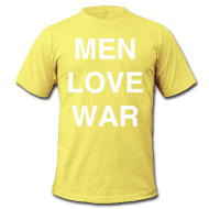 T-Shirts ~ Men's T-Shirt by American Apparel ~ MEN LOVE WAR (white on lemon)