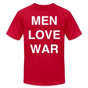 MEN LOVE WAR (white on lemon) - Men's T-Shirt by American Apparel
