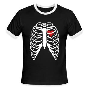 Men's Ringer Tee w/ Skeleton Heart - Men's Ringer T-Shirt