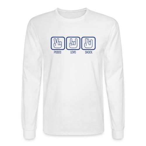 Men's Long Sleeve Tee- Peace, Love, Shock - Men's Long Sleeve T-Shirt