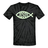 T-Shirts ~ Unisex Tie Dye T-Shirt ~ Black Tie-Dye Jesus Fish T-Shirt, Glow in the Dark, Cool Christian T-Shirt