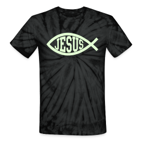 Black Tie-Dye Jesus Fish T-Shirt, Glow in the Dark, Cool Christian T-Shirt ~ 1048