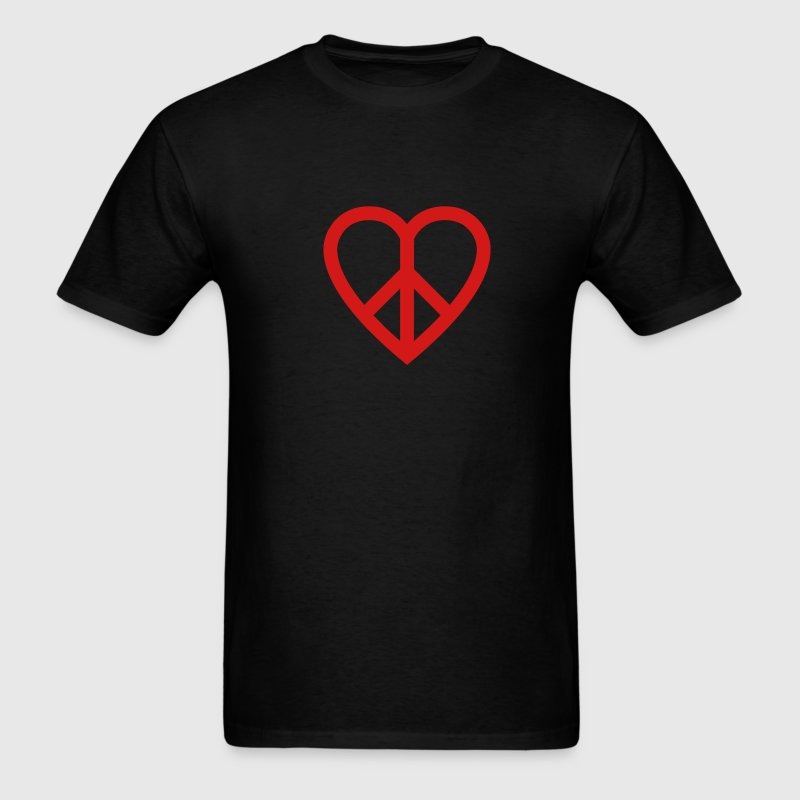 Black Peace Heart T-Shirts - Men's T-Shirt