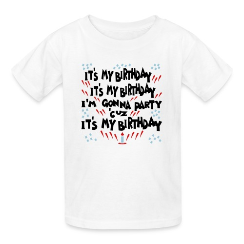 Kool Kids Tees 'It's My Birthday, Gonna Party' Kids' Tee in White - Kids' T-Shirt
