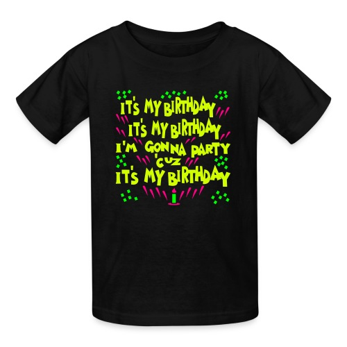 Kool Kids Tees 'It's My Birthday, Gonna Party' Kids' Tee in Black - Kids' T-Shirt