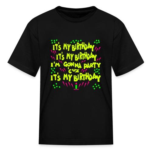 Kool Kids Tees 'It's My Birthday, Gonna Party' Kids' Tee in Black - Kids' T-Shirt