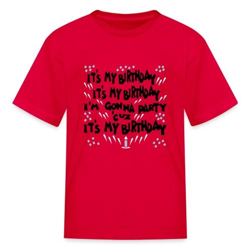 Kool Kids Tees 'It's My Birthday, Gonna Party' Kids' Tee in Red - Kids' T-Shirt