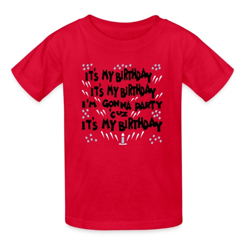 Kool Kids Tees 'It's My Birthday, Gonna Party' Kids' Tee in Red - Kids' T-Shirt