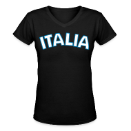 Women's T-Shirts ~ Women's V-Neck T-Shirt ~ ITALIA Women's V-Neck T, Black