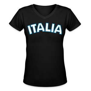 ITALIA Women's V-Neck T, Black - Women's V-Neck T-Shirt
