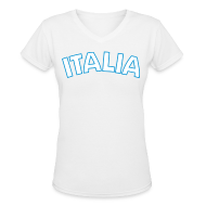 T-Shirts ~ Women's V-Neck T-Shirt ~ ITALIA Women's V-Neck T, White