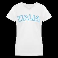 Women's T-Shirts ~ Women's V-Neck T-Shirt ~ ITALIA Women's V-Neck T, White