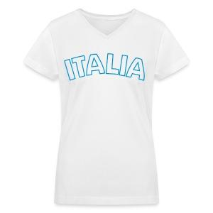 ITALIA Women's V-Neck T, White - Women's V-Neck T-Shirt