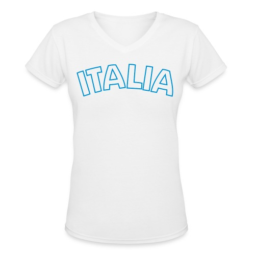 ITALIA Women's V-Neck T, White - Women's V-Neck T-Shirt