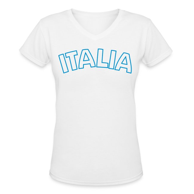 ITALIA Women's V-Neck T, White