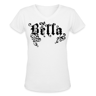 T-Shirts ~ Women's V-Neck T-Shirt ~ BELLA Gothic Women's V-Neck T, White