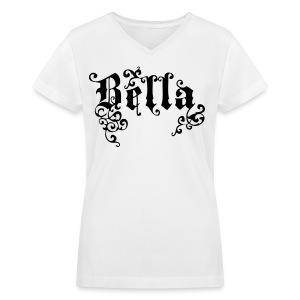 BELLA Gothic Women's V-Neck T, White - Women's V-Neck T-Shirt