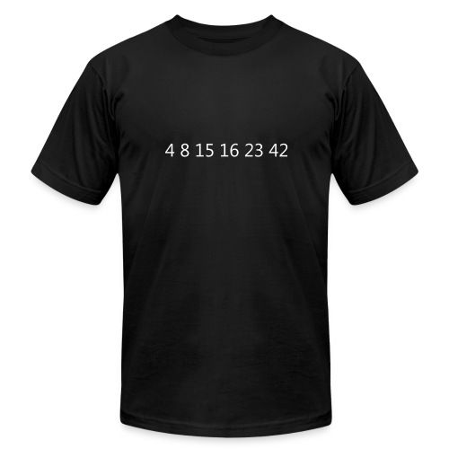 Lost Mysterious Numbers T-Shirt (Says LOST on back) - Men's Fine Jersey T-Shirt