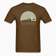 Brown Fly fisherman 2 Fly Fishing shirt design T-Shirts