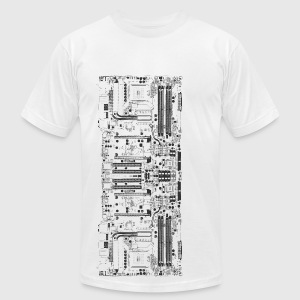 White Computer motherboard Design T-Shirts - Men's T-Shirt by American Apparel