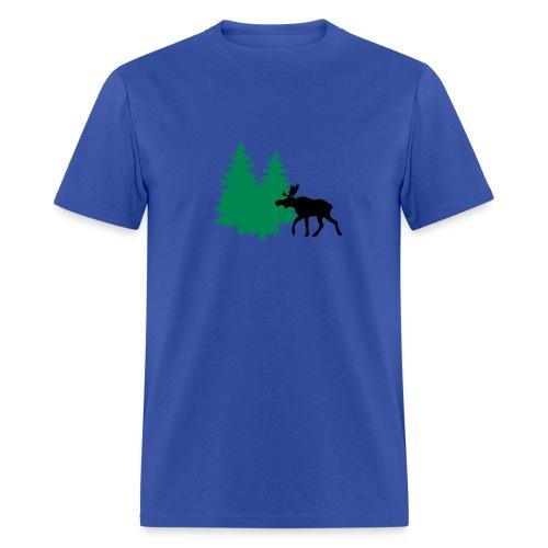 Moose in forest - men's tee - flock print - choose color - Men's T-Shirt