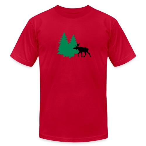 Moose in forest - men's AA tee - flock print - choose color - Men's Fine Jersey T-Shirt