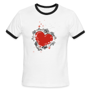 T-Shirts ~ Men's Ringer T-Shirt ~ Heart & Wings Design