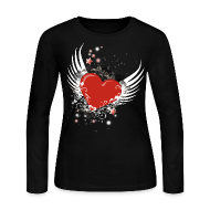 Long Sleeve Shirts ~ Women's Long Sleeve Jersey T-Shirt ~ Heart & Wings Design