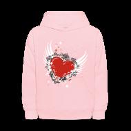Sweatshirts ~ Kids' Hoodie ~ Heart & Wings Design