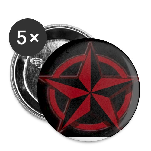 Black and red nautical star pin 5 pack - Small Buttons