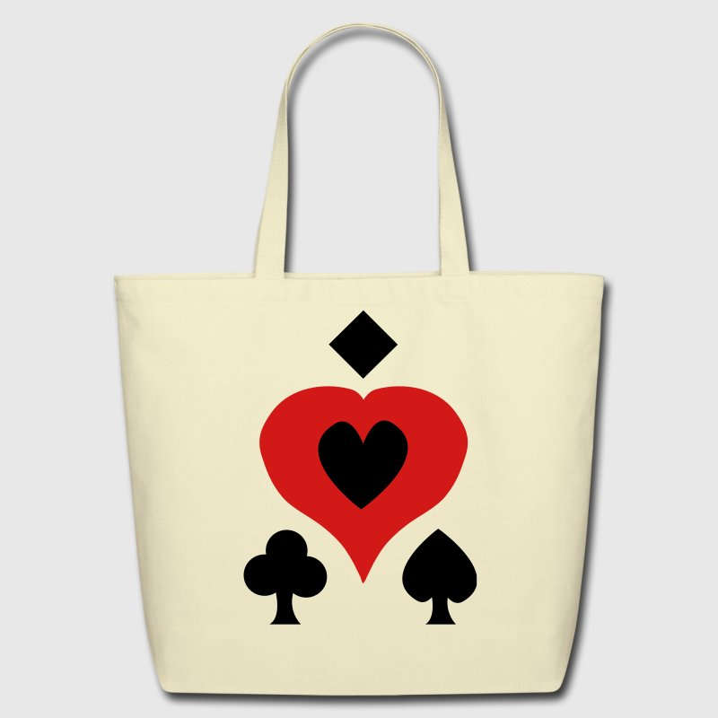 Creme Playing Card Shapes Bags  - Eco-Friendly Cotton Tote