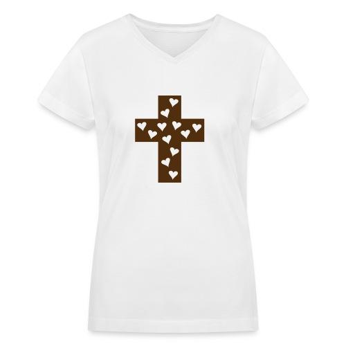 Cross of love - Women's V-Neck T-Shirt