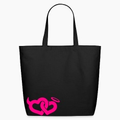 Black devil & angel hearts Bags