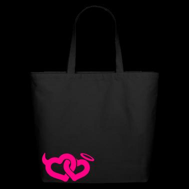 Black devil & angel hearts Bags