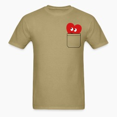 Khaki heart in pocket T-Shirts