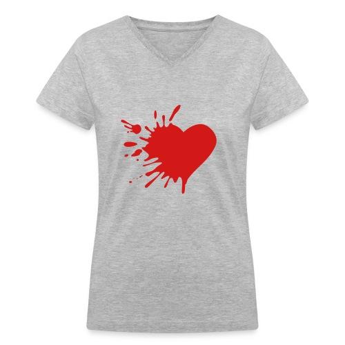 Splat heart Tee - Women's V-Neck T-Shirt