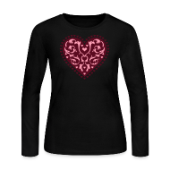 Long Sleeve Shirts ~ Women's Long Sleeve Jersey T-Shirt ~ Heart Design