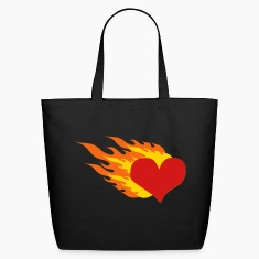 Black Heart On Fire Bags