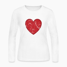 White Cool Valentine Vintage Heart Long sleeve shirts
