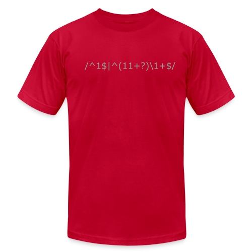 Hacker Math: perl regular expression (regex) for identifying prime numbers - Men's Fine Jersey T-Shirt