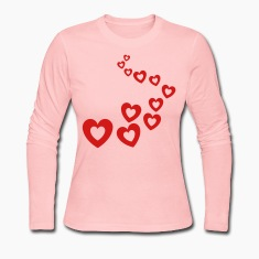 Light pink Valentines Hearts Design Long sleeve shirts